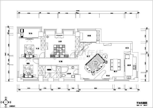 某大厦三室住宅全套装修设计图纸-图1