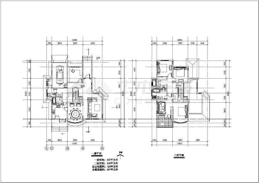 非常简单实用的别墅建筑设计图-图1