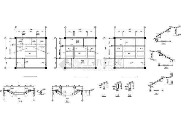 某框架办公综合楼建筑结构CAD图-图2