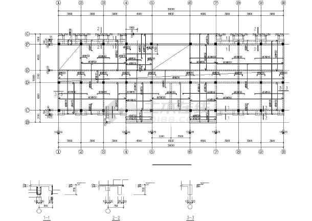 某框架办公综合楼建筑结构CAD图-图3