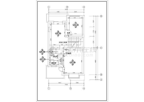 别墅装饰建筑施工cad图纸(共15张)-图2