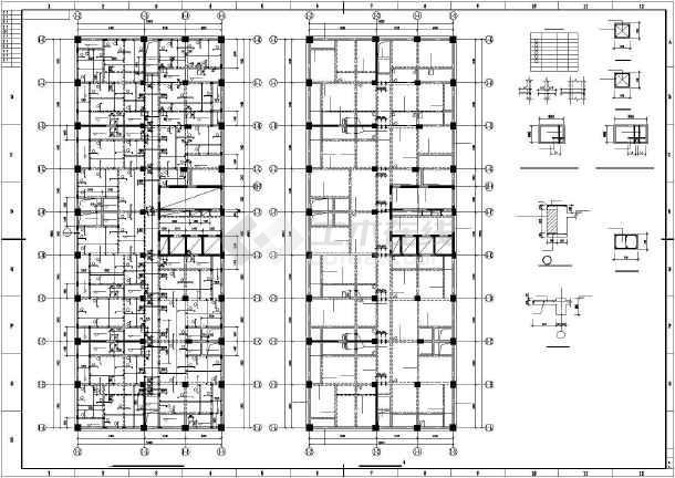 某框架剪力墙大厦结构设计图-图2