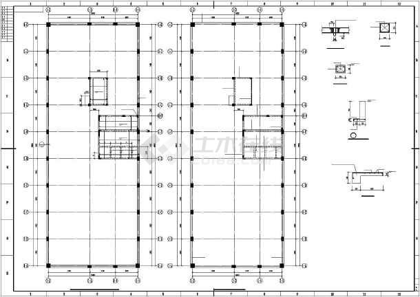 某框架剪力墙大厦结构设计图-图3