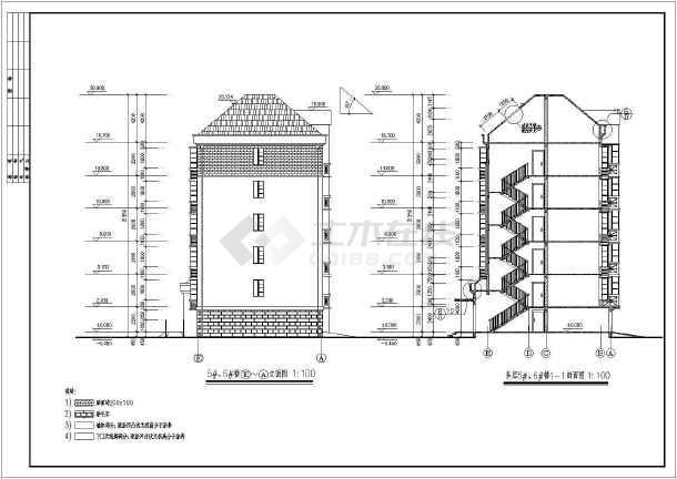 某六层住宅小建筑施工设计CAD图-图2