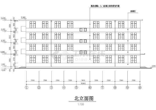 某单位宿舍楼所建筑施工设计CAD图-图2