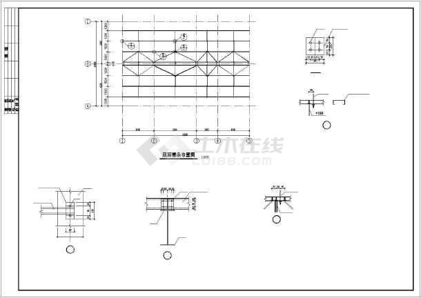 某地框架式餐厅建筑结构施工CAD图-图3
