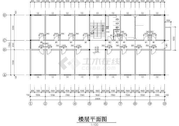 某单位宿舍楼建筑设计cad施工图-图3