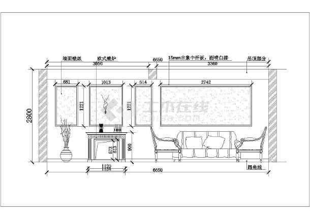 简单精致的别墅装修建筑设计CAD图纸(共9张)-图3