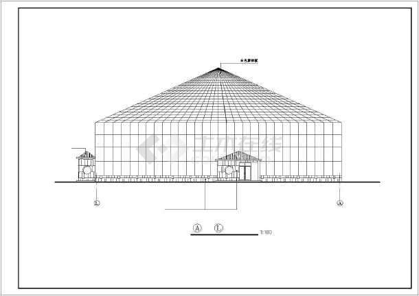 某地海珍品养殖大棚结构cad建筑施工图纸-图1