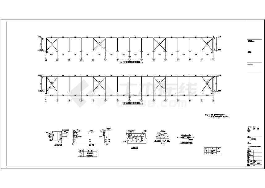 单层双跨实腹式门式刚架结构车间厂房结构施工图-图2