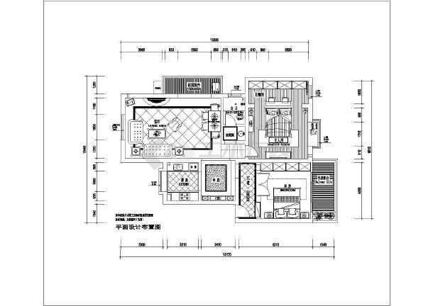 地中海风格二居室装修设计施工图-图1