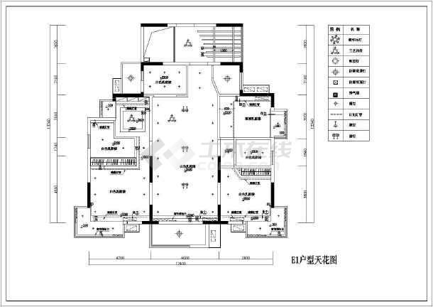 某户型样板房室内装饰装修平面布置施工图-图1