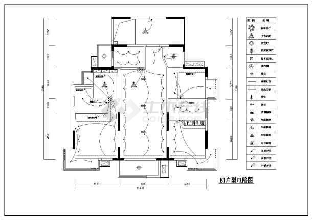 某户型样板房室内装饰装修平面布置施工图-图2
