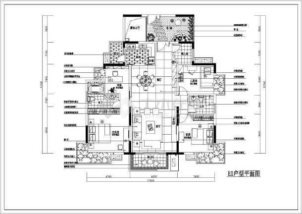某户型样板房室内装饰装修平面布置施工图-图3