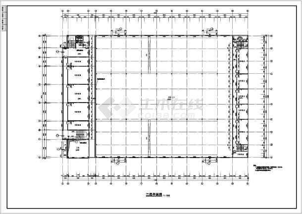 某厂区办公楼加厂房建筑方案cad设计图-图1