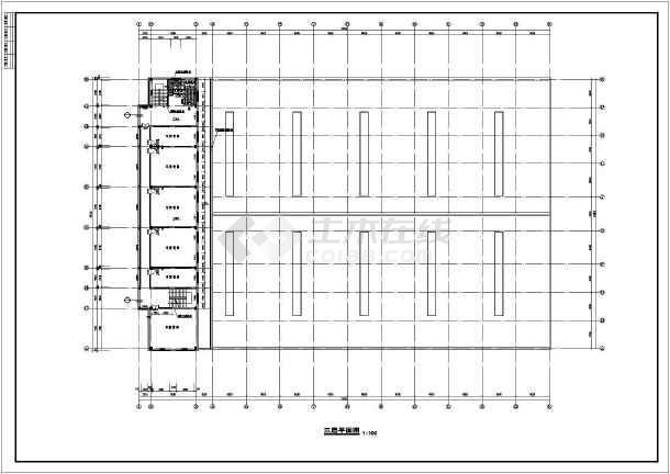 某厂区办公楼加厂房建筑方案cad设计图-图3
