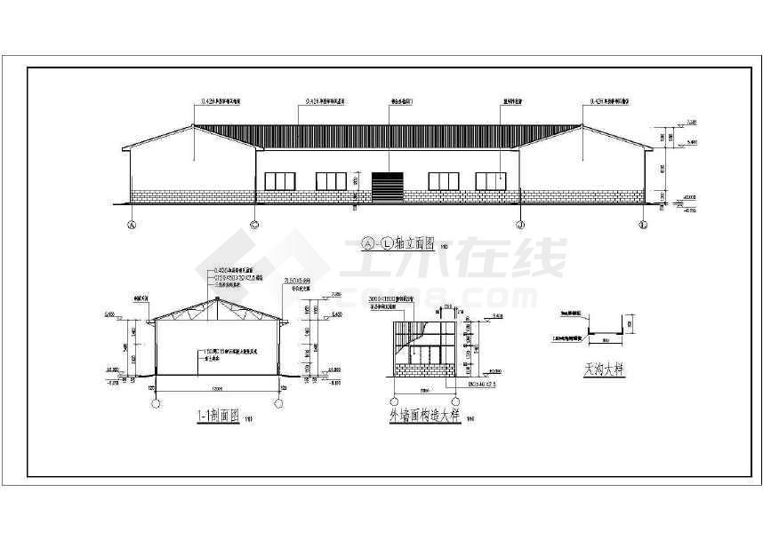 某三角形钢屋架、钢管柱结构施工图-图1