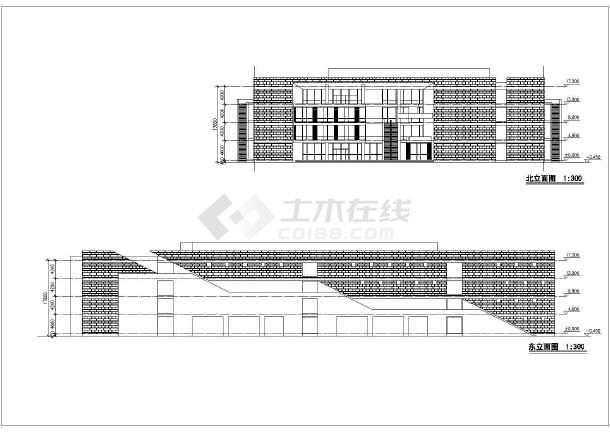 小镇商场全套建筑设计图纸,内容包括:首层平面图,二层平面图,北立面图