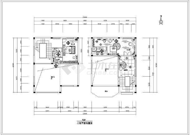 【平面布置图】别墅花园别墅设计图_cad图纸海景v平面庐璟图片