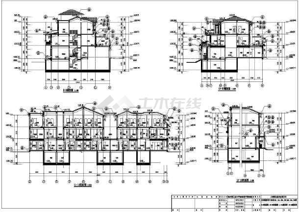 [辽宁]某三层联排式别墅建筑设计施工cad剖面图