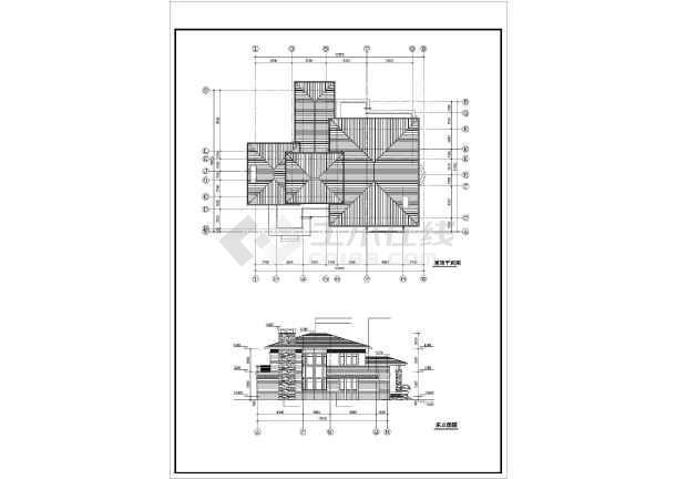 某地单家独院式别墅建筑设计图(共4张)