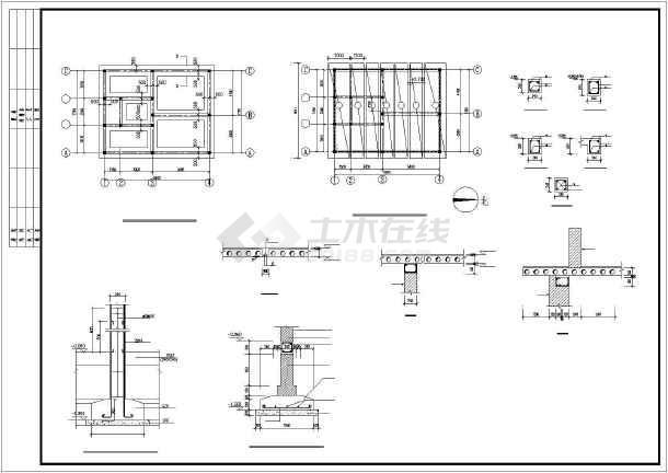 平面图,基础结构平面图,屋顶结构平面图,厕所给水平面图,厕所排水平面