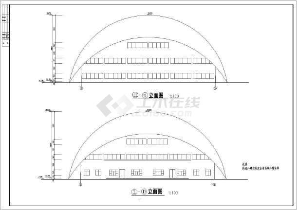 某小型体育馆整套建筑CAD定位图纸gtj2018怎么施工图纸图片