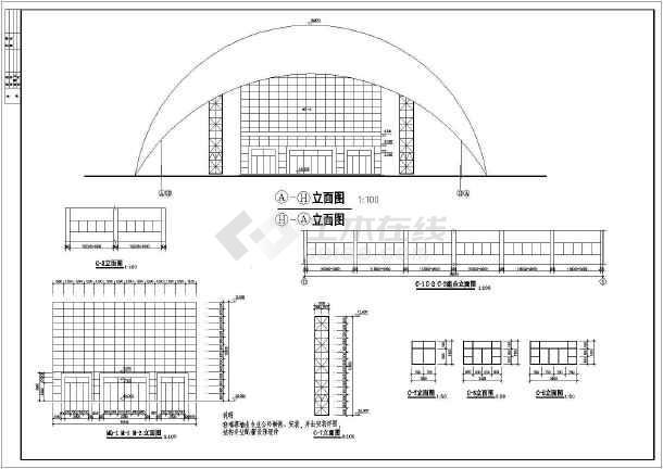 某小型体育馆整套建筑CAD施工手机图纸软件设计用画图纸图片