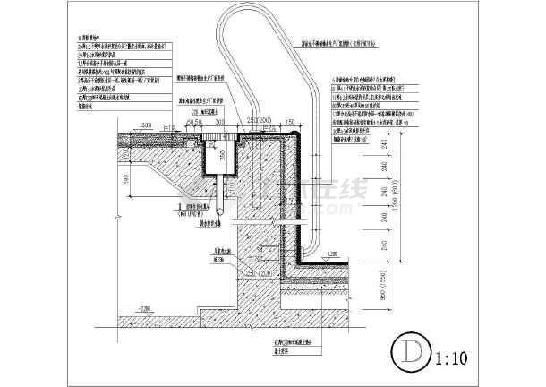 北京某游泳池节点建筑cad装修施工设计图图片