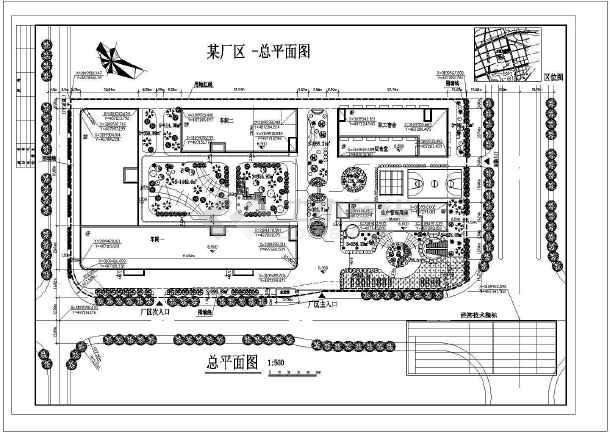 [南方]某工厂厂区总平面cad设计施工图(带绿化)图片