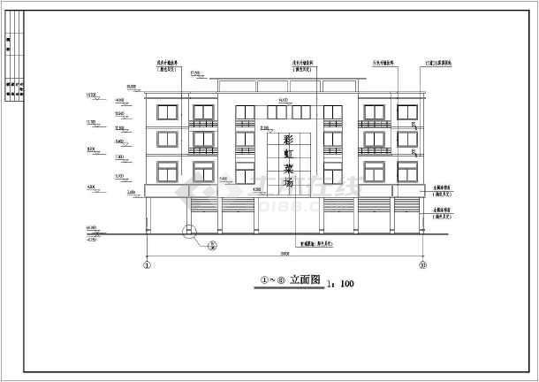某4层跨架结构菜场建筑施工图(全套)