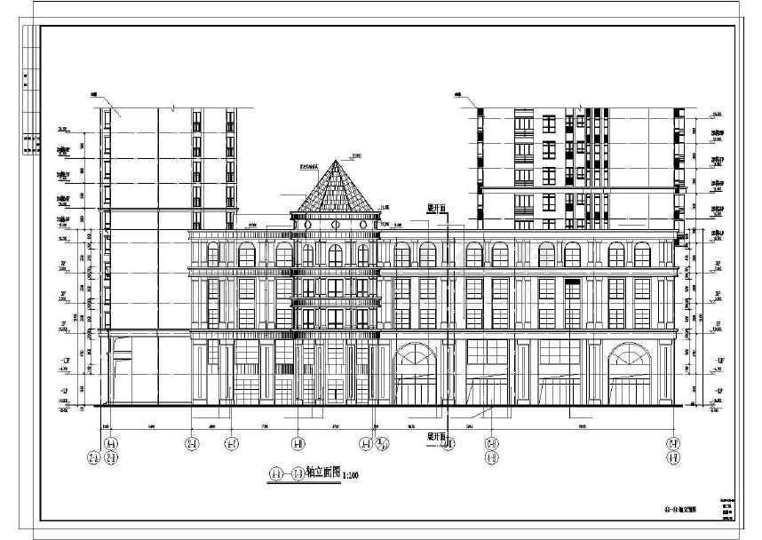某地欧式现代小区三层商业楼建筑施工图图片