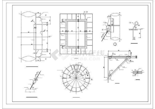 30m拉索钢烟囱详细cad设计施工元素哪里图纸学皮图纸制图片