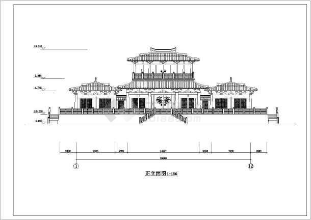 某汉代庄王阁建筑设计图纸图片