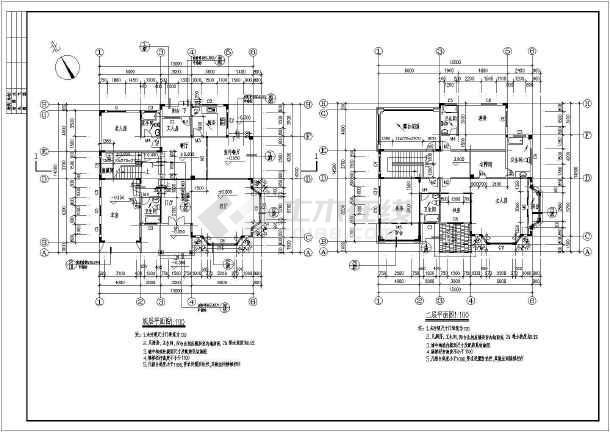 某别墅小别墅全套建筑结构施工图二层顶级台湾图片