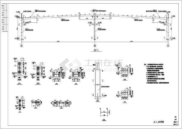 钢结构车间结构施工图(24米跨带吊车,女儿墙)