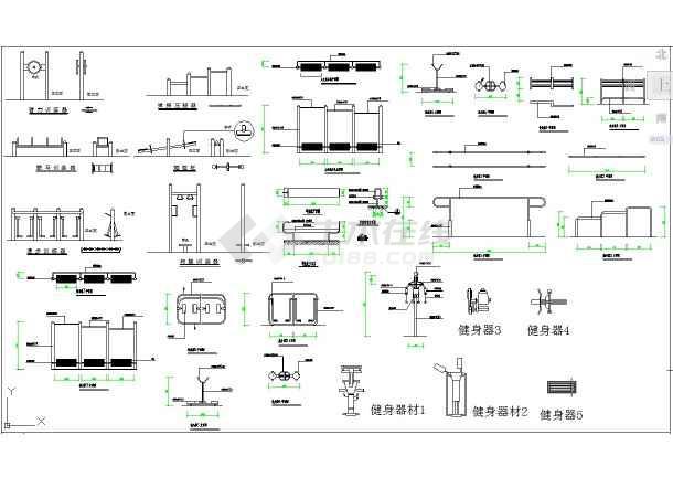 室外健身器材CAD设计施工图纸cad意思n图库什么标注图片