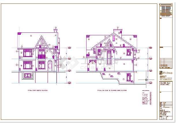 某地轻钢结构三层别墅建筑cad图(英文版)