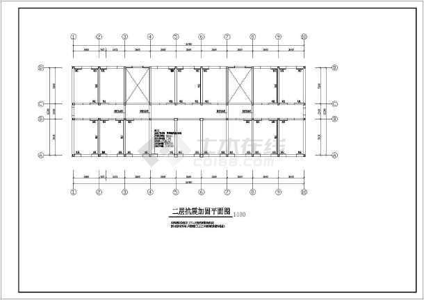 某地办公楼抗震加固结构设计图(2层条形基础)图片
