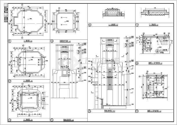 43㎡三层欧式联排商业建筑施工图图片