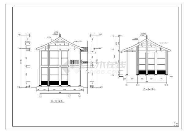 80㎡仿古建筑万寿宫建筑设计施工图图片