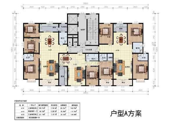 某高层住宅一梯三户型平面图(148,110平方米)