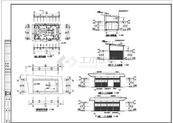 某钢结构星级公共厕所建筑结构水电施工图(高:3.9米)