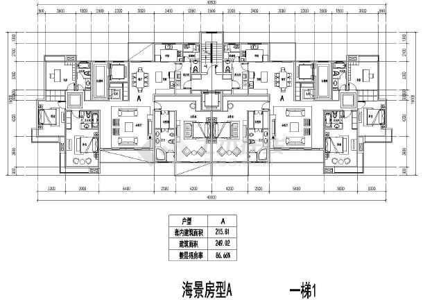 板式高层一梯二户建筑cad户型图(431.62平米)