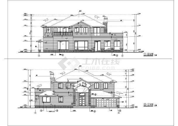 某地别墅设计集a-06型别墅建筑cad图(372平方米框架剪力墙)