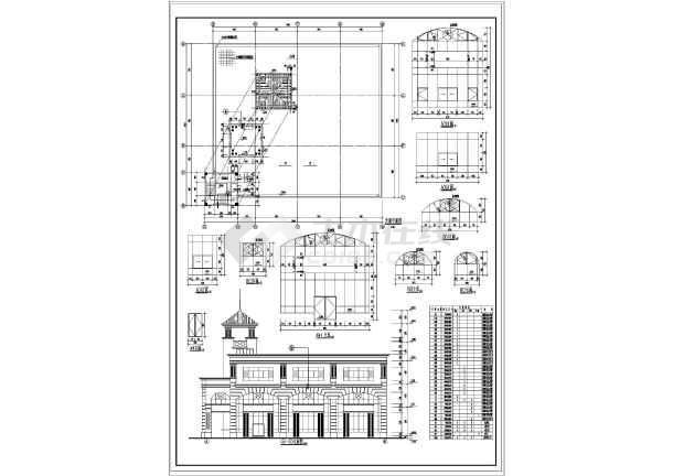 2层欧式商业步行街建筑施工图vip图片