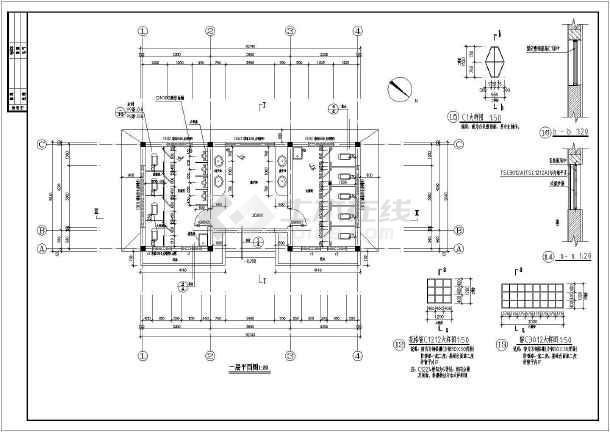 某公共厕所建筑方案设计图(标注详细)