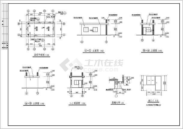 图纸图纸及门卫建筑设计图纸cad+围墙厂区变更图片