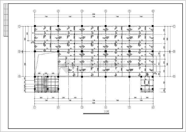 某多层框架结构办公楼建筑结构图(独立基础)
