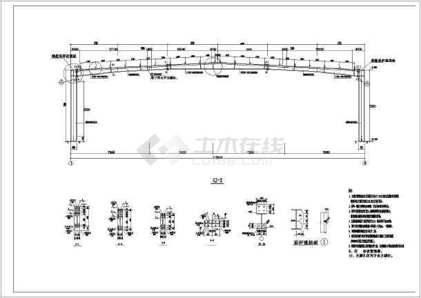 某30米跨局部二层钢结构厂房图纸